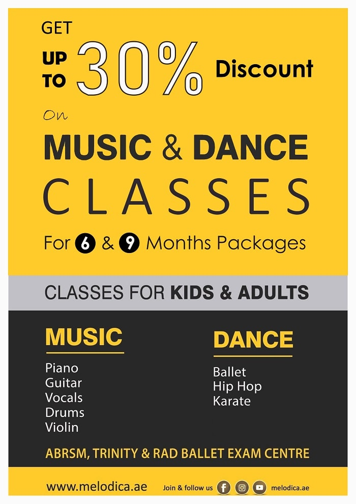 Upto 30% Offer on Music Dance Classes at Melodica Music Center Dubai