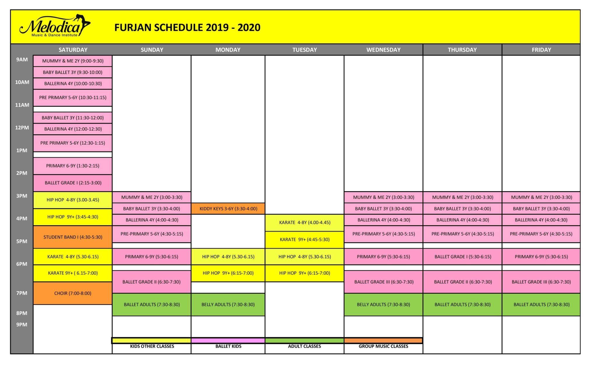 furjan branch time table