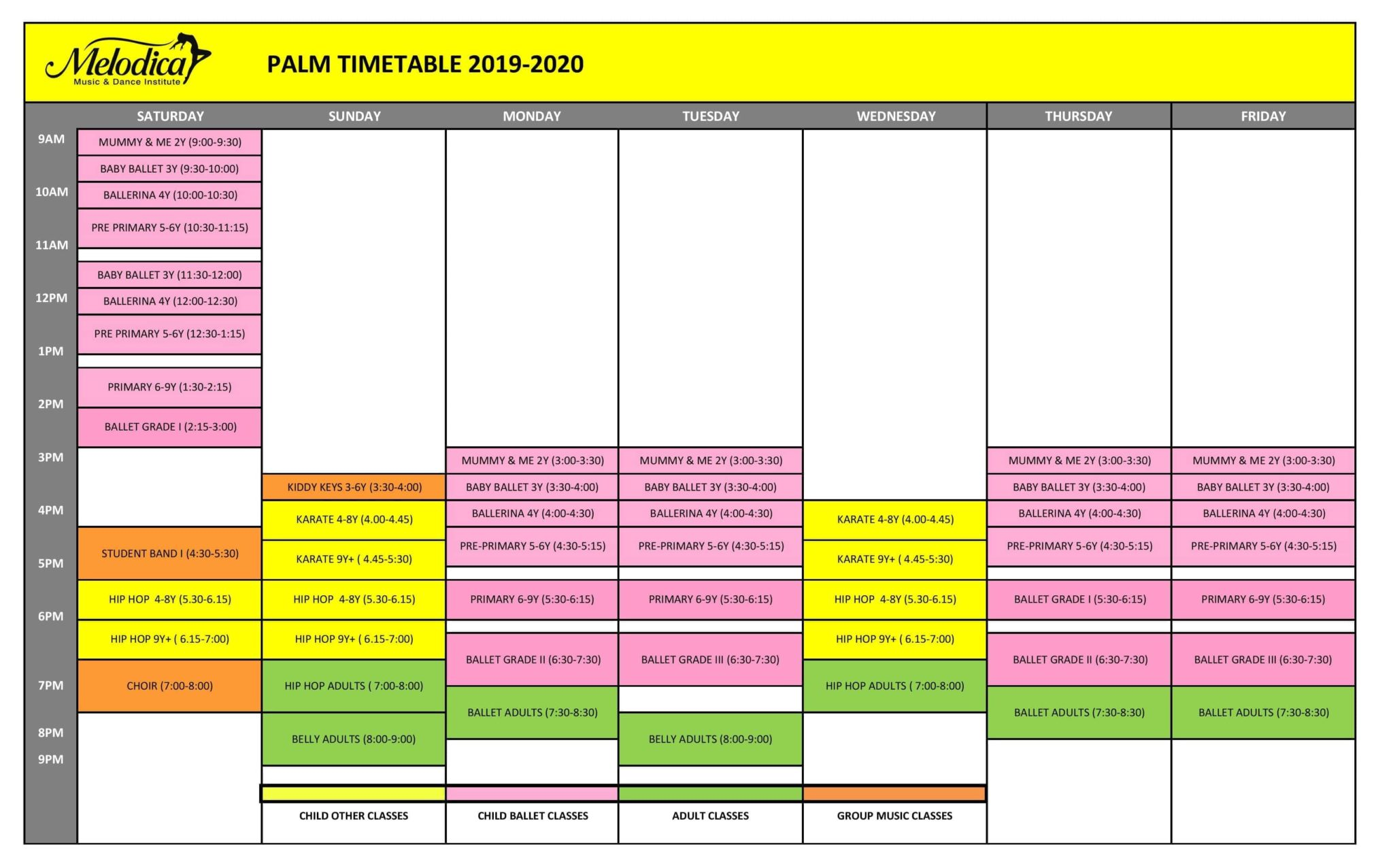 melodica palm branch time table