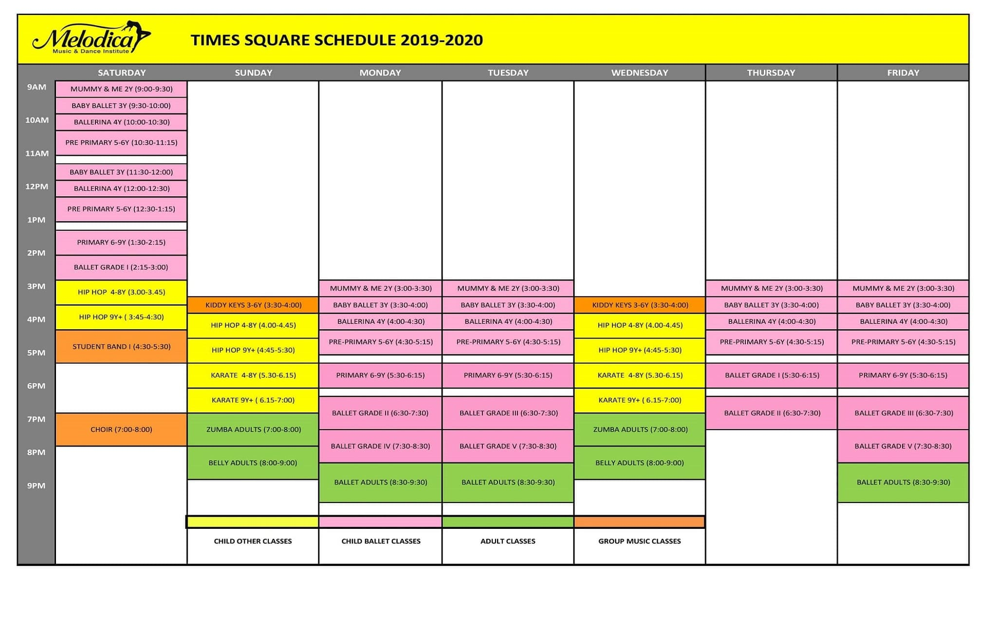 times square time table 2019 - 2020
