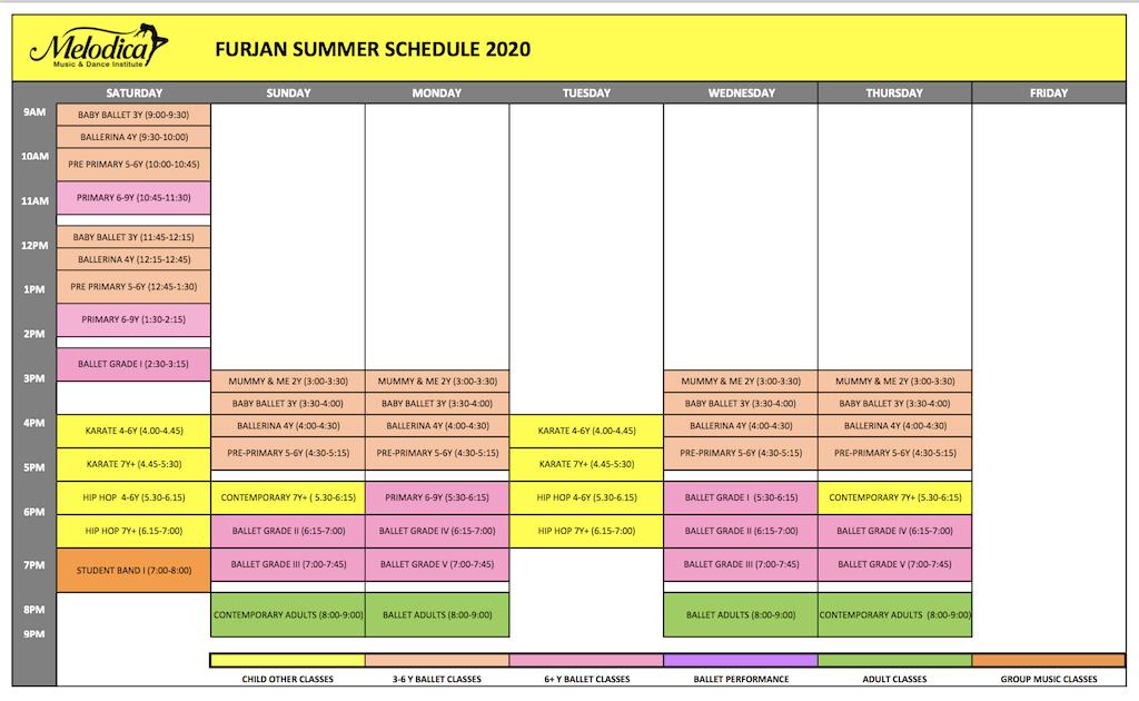 Melodica Dance schedule Al Furjan Branch