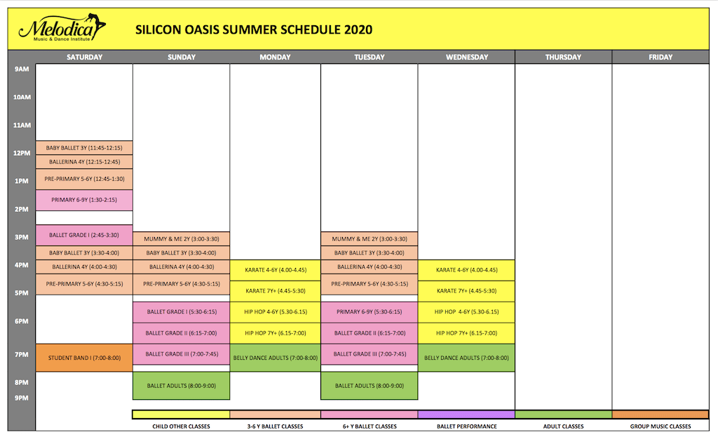 Melodica Dance schedule Silicon Branch