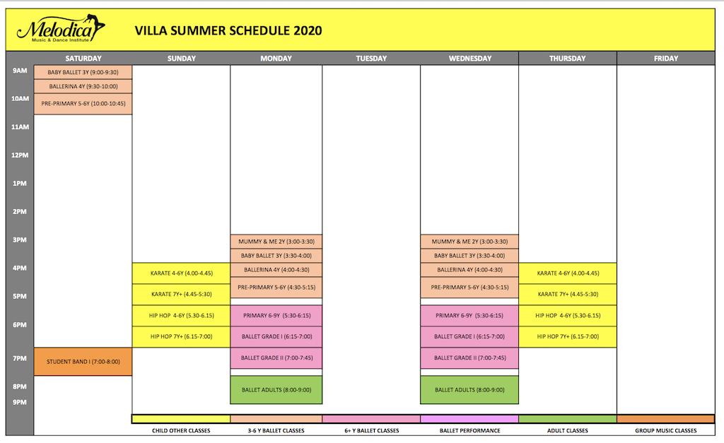 Melodica Dance schedule Villa Branch