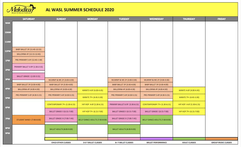 Melodica Dance schedule wasl Jumeirah Branch