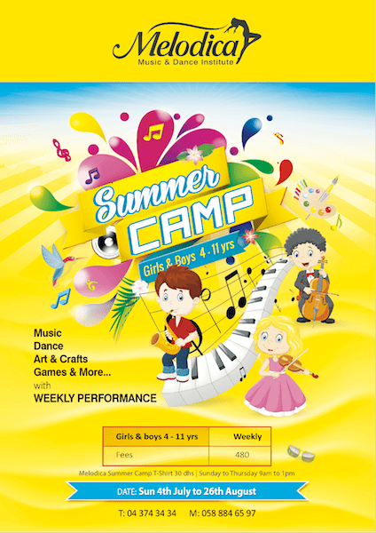 music and dance summer camp in dubai at melodica music intitute